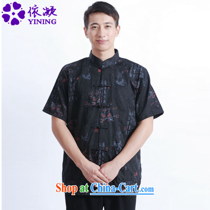 According to fuser summer stylish new male Chinese daily Chinese qipao text flower stamp father replace short-sleeved Chinese T-shirt LGD/M 0022 #black 3 XL