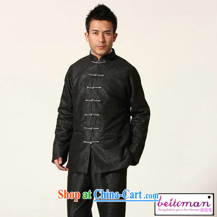 Mrs Ingrid sprawl economy new, older men's Chinese double-cuff men's Chinese long-sleeved black XXXL pictures, price, brand platters! Elections are good character, the national distribution, so why buy now enjoy more preferential! Health