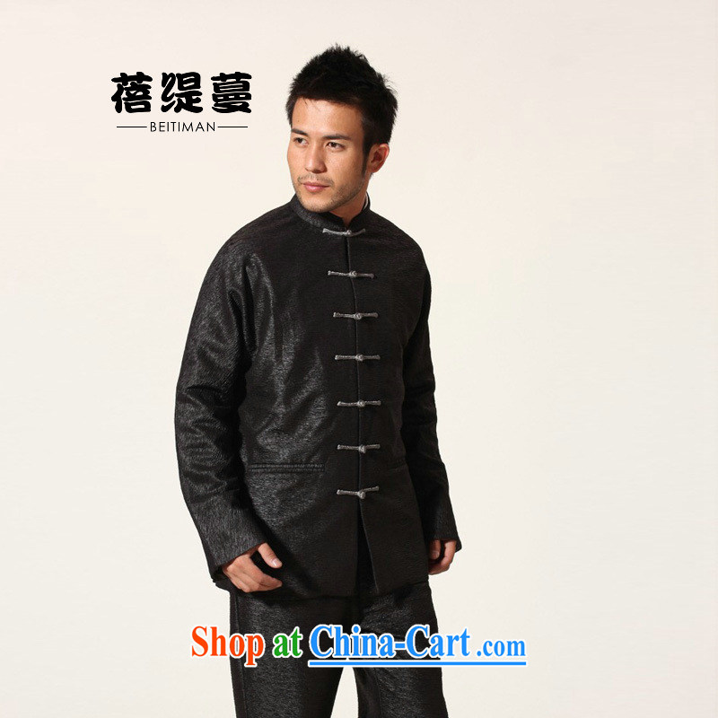 Mrs Ingrid sprawl economy new, older male Chinese double-cuff men's Chinese long-sleeved black XXXL