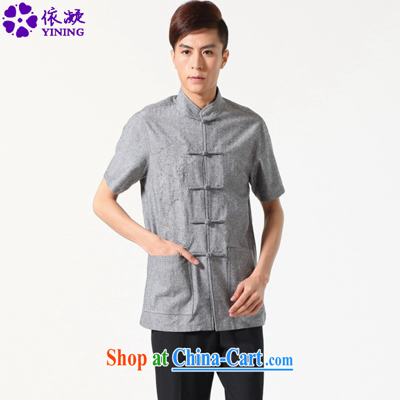 According to fuser summer stylish new men's Chinese shirt, who has been hard-pressed long-grain embroidered Dad loaded Tang with a short-sleeved T-shirt LGD_M 0052 _dark gray 3 XL