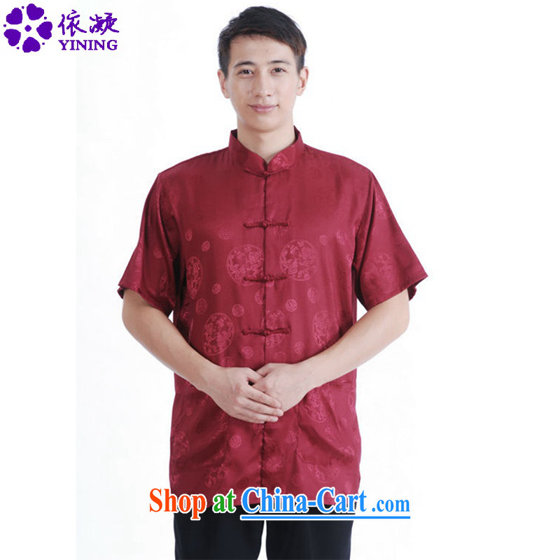According to fuser summer New Men's antique Ethnic Wind load short shirt Classic-tie father replace Tang replace short-sleeved shirt LGD_M 2065 _3 XL