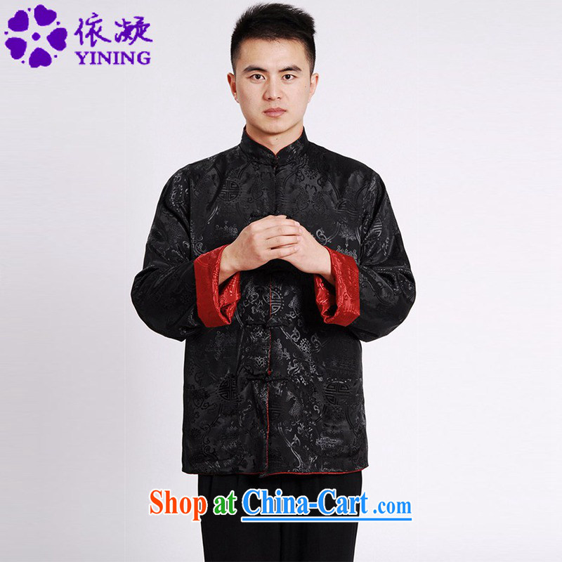 According to fuser spring new male daily improved Chinese qipao, leading to a two-sided through father replace Tang replacing long-sleeved T-shirt LGD/M 1045 #3 XL
