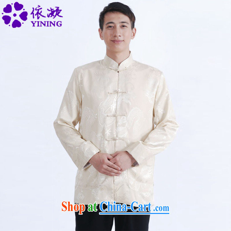 According to fuser spring new men's long-sleeved Chinese qipao stylish jacquard click the snap-father replace Tang jackets LGD_M 1144 _3 XL