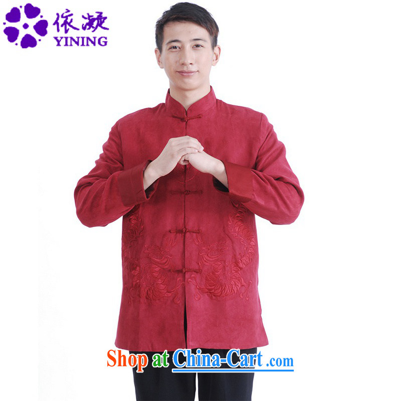 According to fuser spring new male daily Chinese improved Chinese qipao, for double-lung embroidered Dad replace Tang jackets LGD/M 1147 #The Red 3 XL