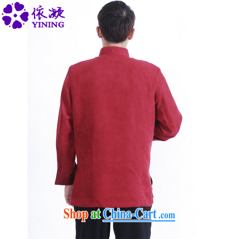 According to fuser spring New Men's daily Chinese improved Chinese qipao, for double-lung embroidered Dad replace Tang jackets LGD/M 1147 #The Red 3 XL, fuser, and Internet shopping