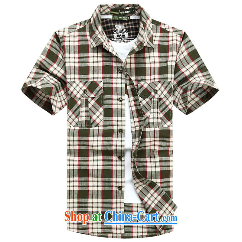 Jeep shield spring New Men's comfortable cotton short-sleeved checkered shirt 6821 green 5 XL