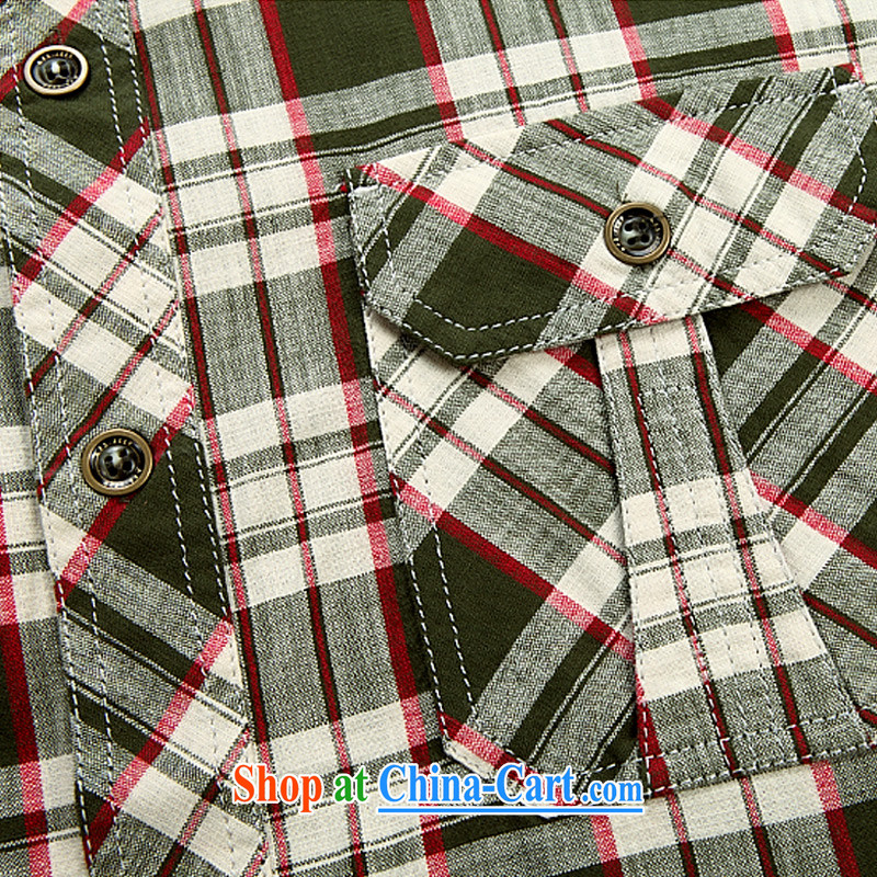 Jeep shield spring New Men's comfortable cotton short-sleeved checkered shirt 6821 green 5 XL, Roma shields, shopping on the Internet