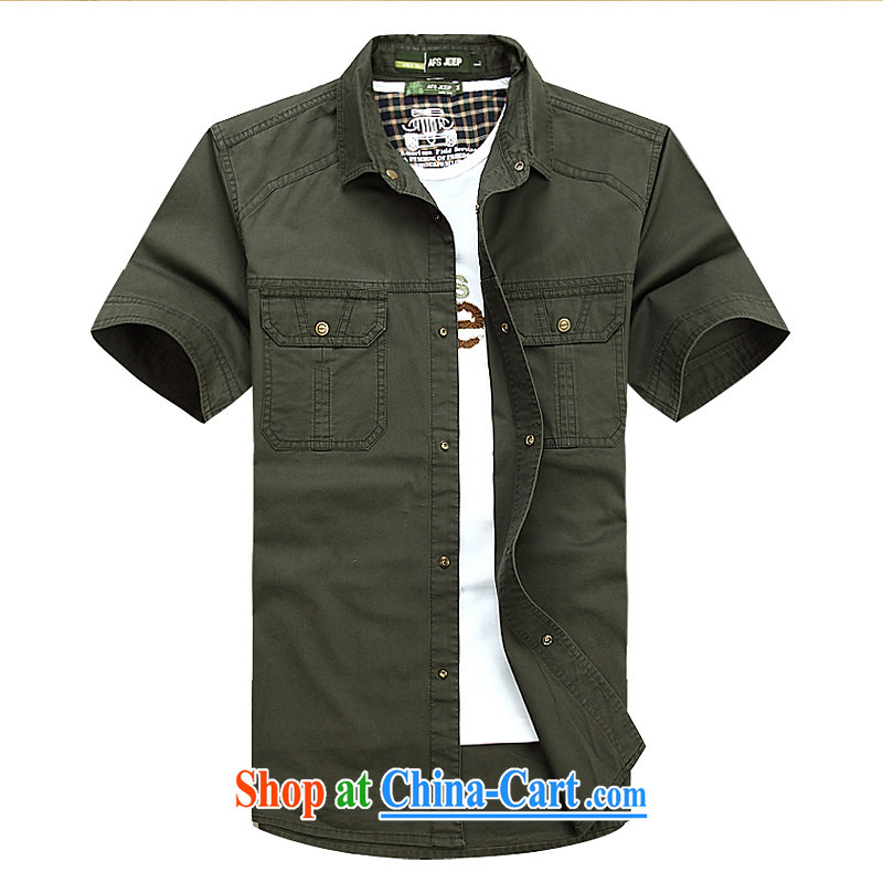 Jeep shield men's solid color shirt-pocket cotton short-sleeved snap shirt 6823 army green L