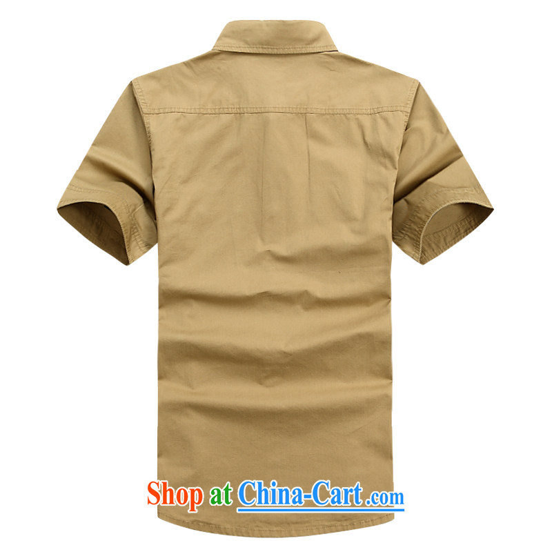Jeep shield men's solid color shirt-pocket cotton short-sleeved snap shirt 6823 army green L Roma, shield, and, shopping on the Internet