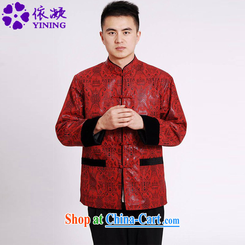 According to fuser spring new, older men's daily improved Tang replacing the collar retro-buckle stitching father with long-sleeved Tang replace LGD_M _0040 figure XXXL