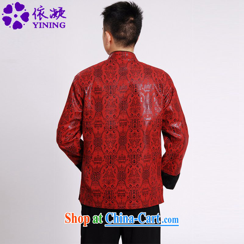 According to fuser spring new, older men's daily improved Tang on the collar retro-buckle stitching father with long-sleeved Tang replace LGD/M #0040 figure XXXL, according to fuser, and shopping on the Internet