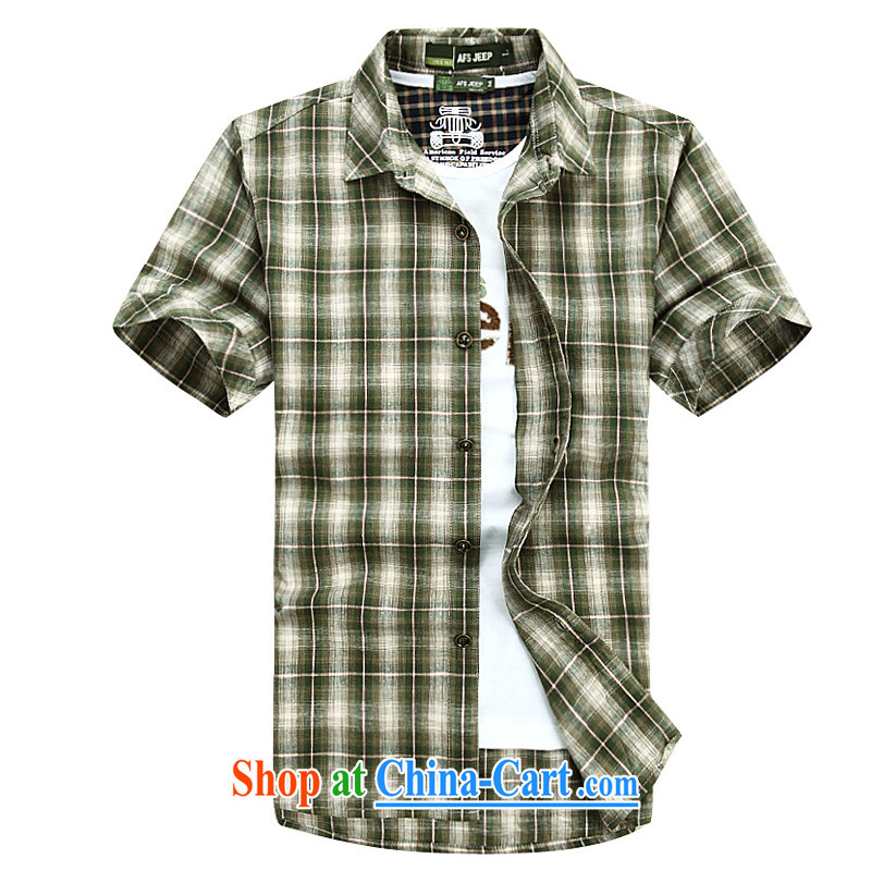 Jeep shield men's shirts cotton frock sewing shirt short-sleeved checkered shirt 6835 green XXXL