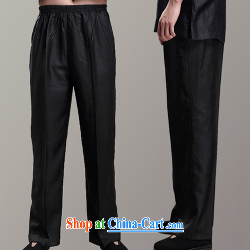 Ying Shi, 15_New sauna silk and silk trousers men's casual men's trousers fragrant cloud yarn trousers, trouser press Black M