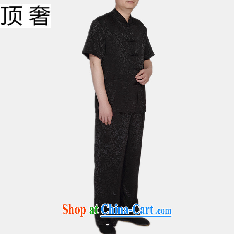 Top luxury Chinese package men and a short-sleeved summer new male 2015 relaxed version China wind-buckle black Tang package installed is the increase of the collar T-shirt black Dragons Kit 185