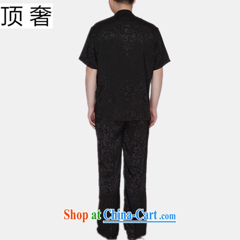 Top luxury Chinese package men and a short-sleeved summer New Men's 2015 relaxed version China wind-buckle black Tang package with the fertilizer and increase the collar shirt black Dragons package 185 and the top luxury, shopping on the Internet