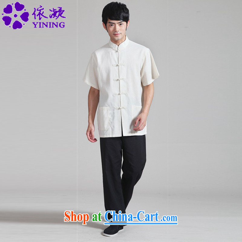 According to fuser summer stylish new male Chinese shirt + pants Solid Color short-sleeved Chinese package WNS/0820 # 4 #3 XL