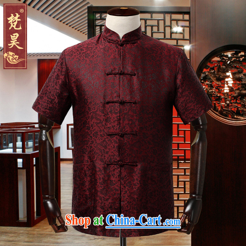 Van Gogh's annual summer 2015 middle-aged silk Tang replace short-sleeved men's red simple code loose incense cloud yarn shirt DX 909 red L