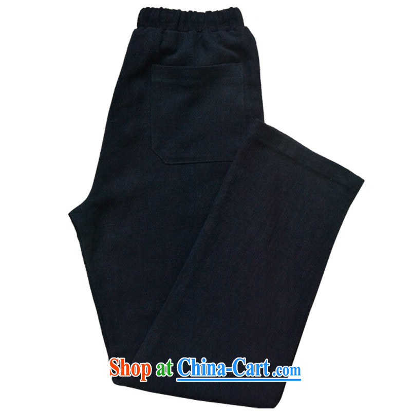 Hill People Movement China wind men's trousers loose long pants young male and pants linen has always been the pants black XL