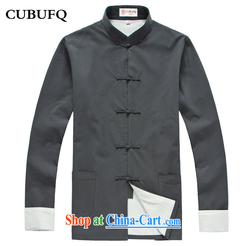 cubufq pure cotton double-decker Chinese Chinese爉en and replace the snap-china wind Chinese men's long-sleeved jacket spring Han-cynosure of serving gray 175_41