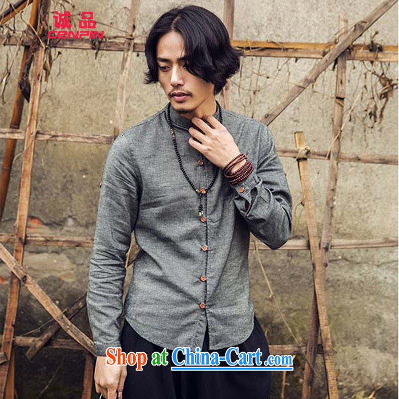 Honesty and Integrity, men's leisure and collar shirt spring 2015 New Product China wind wooden tie, collar shirt C 25 dark gray L