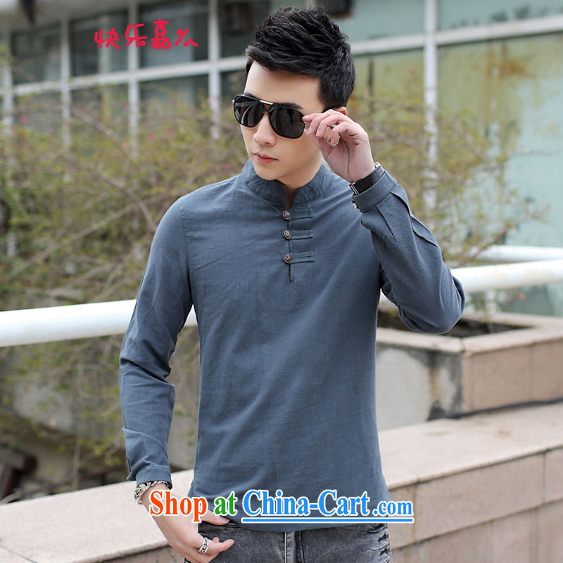 Retro China wind linen men's long-sleeved T-shirt, for a solid color shirt 8011 Tibetan cyan XXL