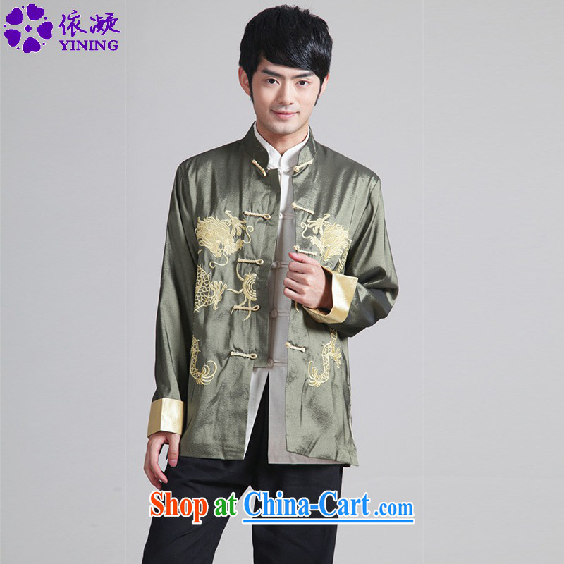 According to fuser New Men's antique Ethnic Wind daily Chinese qipao, who has been hard-pressed double Dragon embroidered Dad replace Tang jackets WNS_2283 _ 2 _3 XL