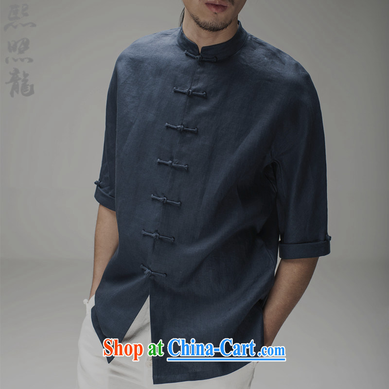 Hee-snapshot Dragon Chinese men's summer short-sleeved Chinese, for plain linen shirt China wind men's men's costumes clothing black M, Hee-snapshot lung (XZAOLONG), online shopping