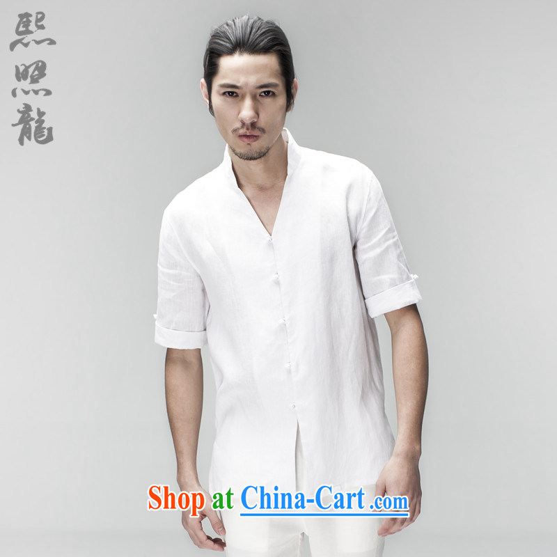 Mr Chau Tak-hay snapshot Lung New China wind men's linen shirt men's short-sleeved summer Chinese Chinese nation Nepal clothing shirt white XL