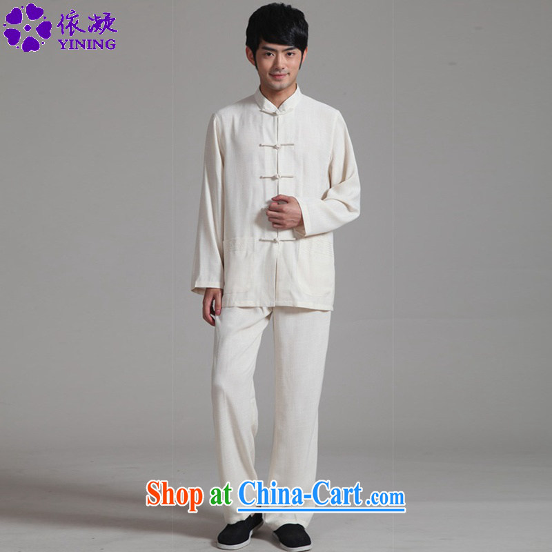 According to fuser new man retro improved ethnic-Chinese long-sleeved T-shirt + pants Tang replace Kit Kung Fu Tang replace WNS/2352 package - 2 #3 XL