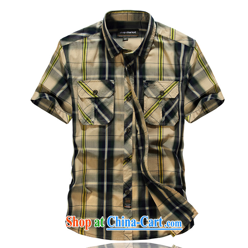 Jeep vehicles summer short-sleeved cotton shirt buttons the code bar checkered shirt double Pocket Card 8511 its color L