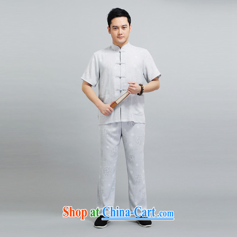 2015 New Britain, Mr Rafael Hui, half sleeve, for men and summer Chinese improved Ethnic Wind and Yau Ma Tei cotton short-sleeved Tang with pale yellow light gray 19,066