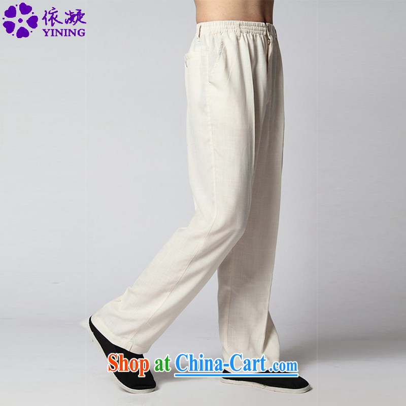 According to fuser stylish new men's retro improved solid leisure short pants Tai Chi uniforms pants WNS/2350 #pants - 4 #3 XL
