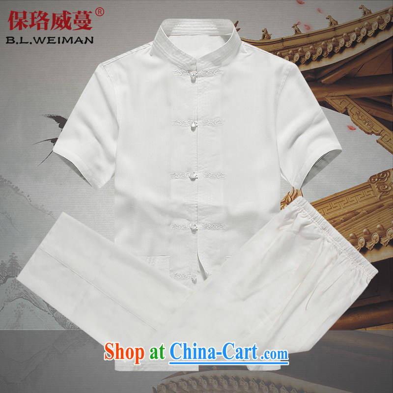 the Lhoba people, evergreens and China wind men Chinese men's short-sleeve kit Dad spring and summer load T-shirt shirt and pants, older persons, summer shirt for Grandpa summer white 175
