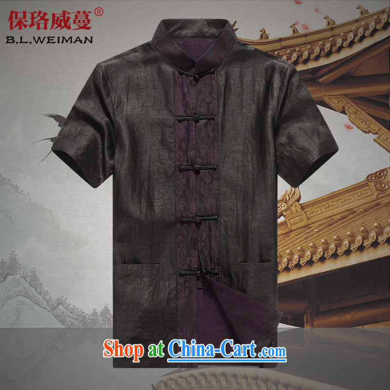 the Lhoba people, evergreens father National Silk fragrant cloud yarn men Chinese men's shirts summer Chinese middle-aged and older men and black 190