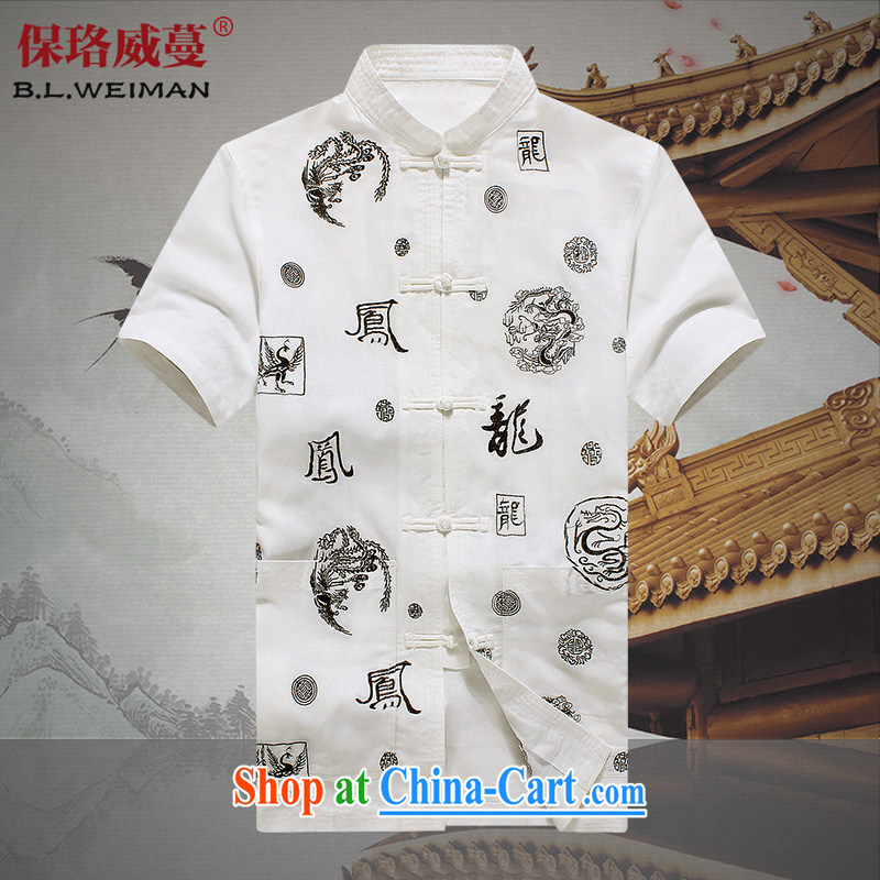 the Lhoba people, evergreens summer New Men's short-sleeved shirts, older Chinese Ethnic Wind men's cotton shirt Dad T-shirt solid white 190