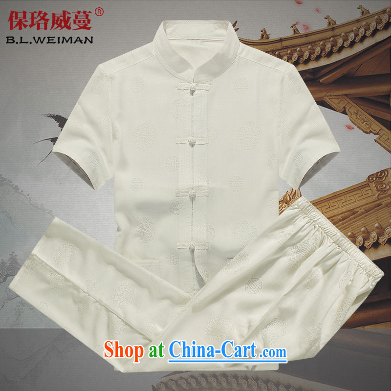 the Lhoba people, evergreens men Tang load package summer cotton shirt the boy, short-sleeved breathable and comfortable Pack E-Mail white 190