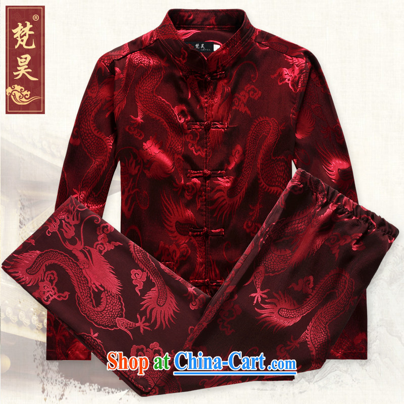 Van Gogh's new Chinese men and set long-sleeved sauna silk Chinese Cheongsams father loaded kung fu T-shirt spring TCS 501 red 4 XL