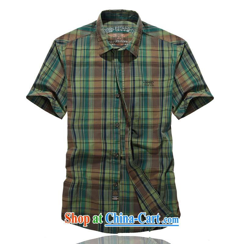 Jeep vehicles summer the code bar tartan shirt embroidered logo short cuffs shirt pure cotton shirt 8518 army green L