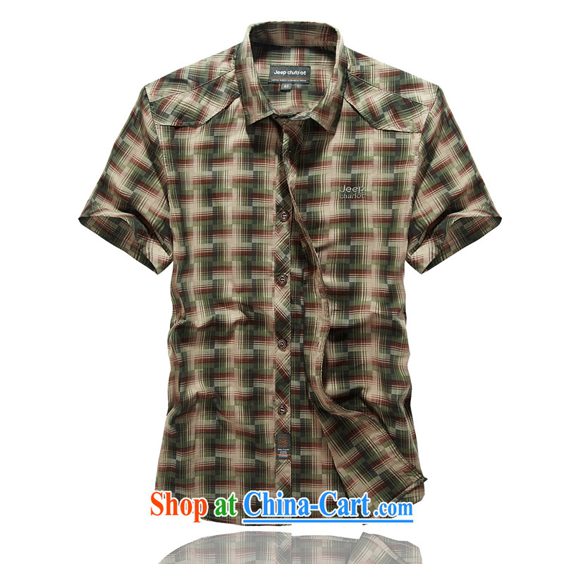 Jeep vehicles the code short-sleeved bar tartan shirt Washed Cotton frock shirt 8517 card its color L