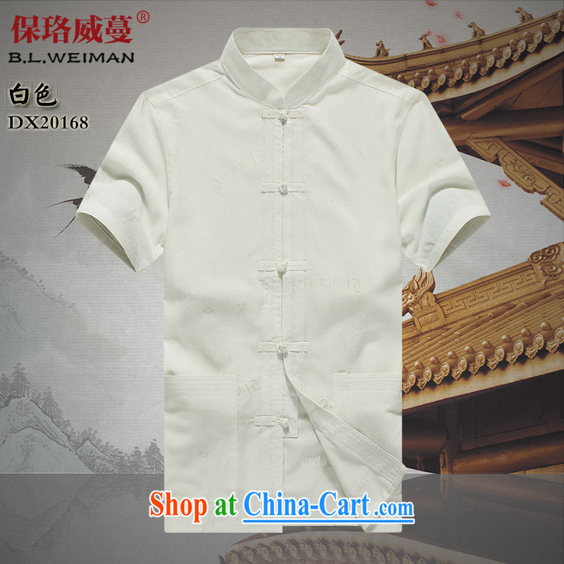 the Lhoba people, spreading Chinese wind men's short-sleeved Chinese cotton the casual shirts men's thin T-shirt dad in white 190
