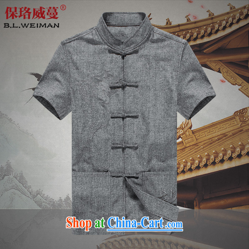 the Lhoba people, evergreens summer China wind linen short-sleeve Chinese male and comfortable, breathable cotton the clothing and sweat summer gray 190