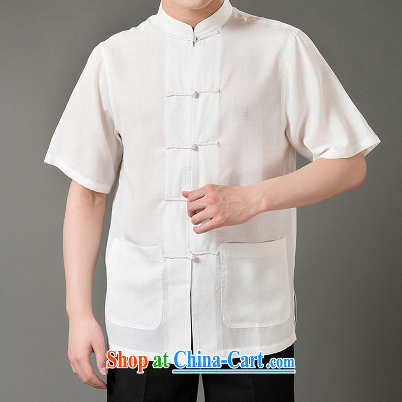 Federal Bob poetry short-sleeved Chinese male, older men and Chinese summer 2015, emulation, Tang Replace T-shirt hand-tie dress Chinese, for Chinese White XL_175