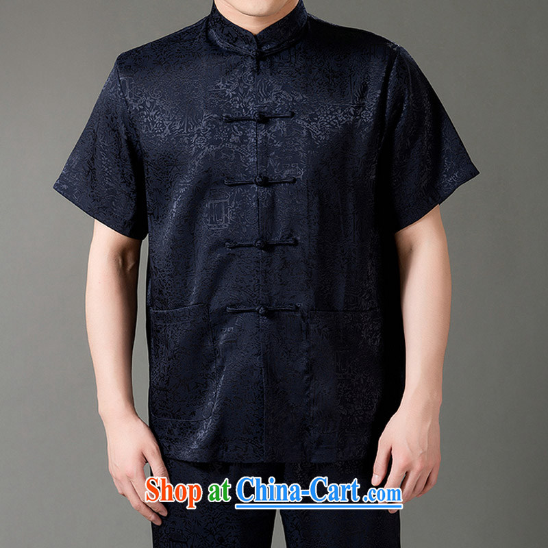 Federal Bob poetry short-sleeved Chinese men and set the older men and Chinese summer 2015, emulation, Tang replacing manual tray snap national costumes, Chinese collar Tang blue XL/175
