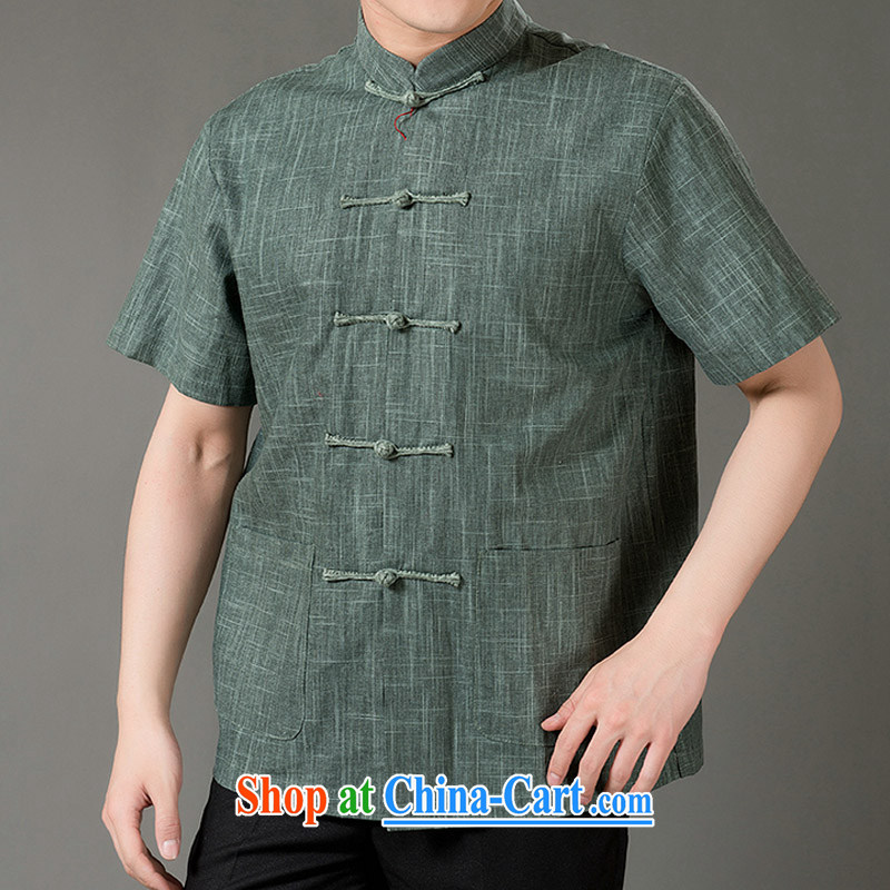 Federal Bob poetry short-sleeved Chinese male, older men and Chinese summer 2015, linen Chinese T-shirt hand-tie national costumes, Chinese collar Tang with the green XL_175
