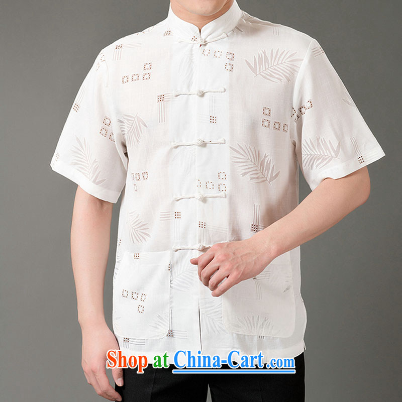 Federal Bob poetry short-sleeved Chinese male, older men and Chinese summer 2015, emulation, Tang Replace T-shirt hand-tie dress Chinese, for Chinese White XL/175