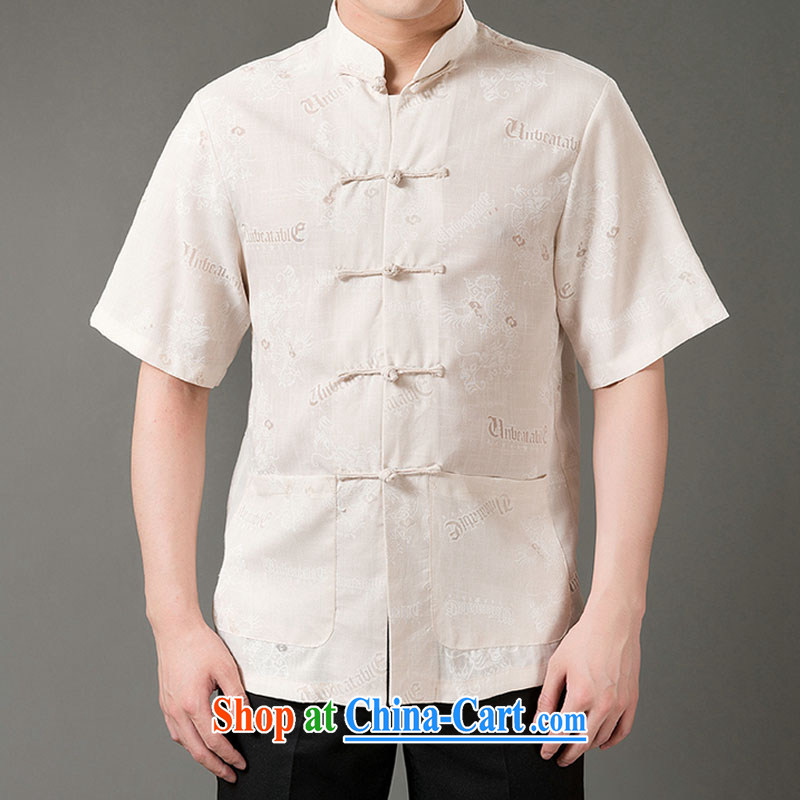 Federal Bob poetry short-sleeved Chinese male, older men and Chinese summer 2015, emulation, Tang Replace T-shirt hand-tie dress Chinese, for Chinese beige XL_175