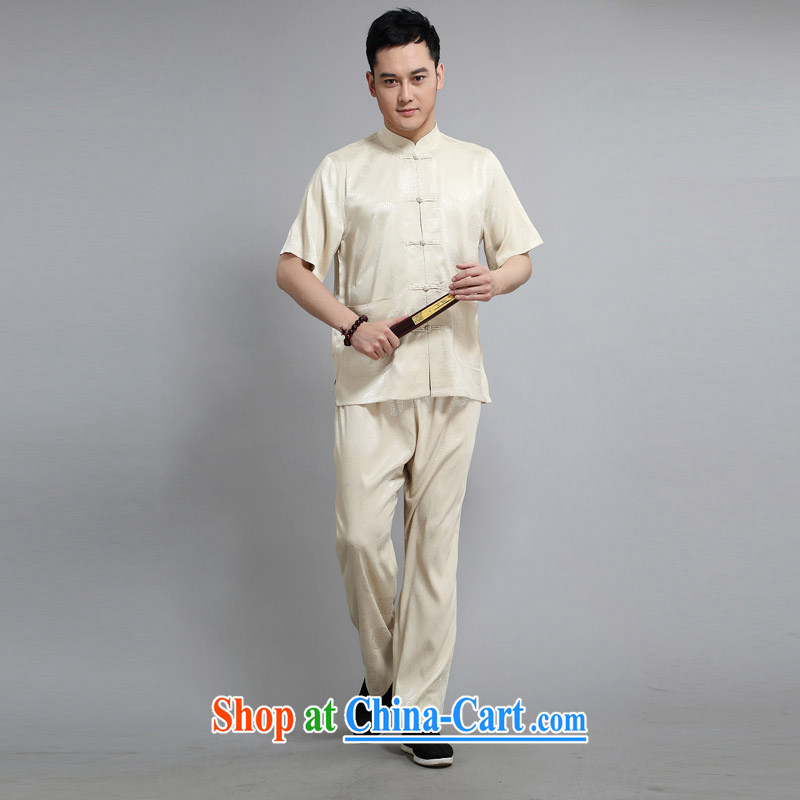 2015 New Britain, Mr Rafael Hui, half sleeve, for men and summer Chinese improved Ethnic Wind and emulation, short-sleeved Tang with pale yellow light gray light yellow 190