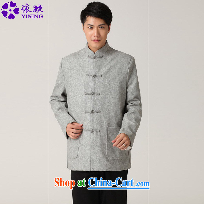 According to fuser stylish new men's National wind improved smock pure color for a field for my father replace Tang jackets WNS/2398 #1 gray 3 XL