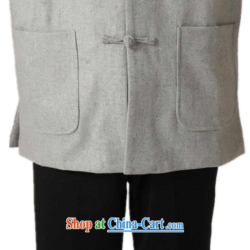 According to fuser and stylish new men's National wind improved smock pure color for a field for my father replace Tang jackets WNS/2398 #1 gray 3 XL, fuser, and shopping on the Internet