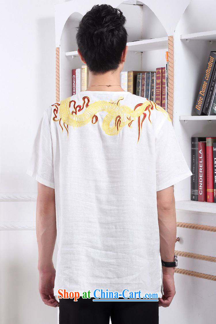 According to fuser new male retro Ethnic Wind short-sleeved Chinese T-shirt embroidered dragon used boxing kung fu shirt costumes WNS/2397 #2 white L pictures, price, brand platters! Elections are good character, the national distribution, so why buy now enjoy more preferential! Health